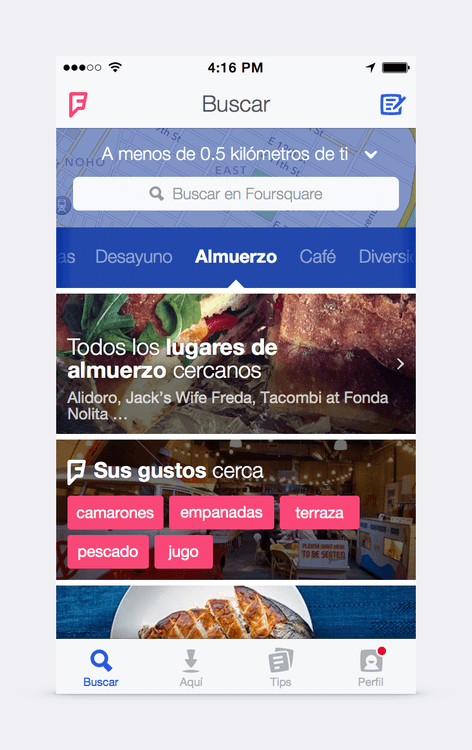 foursquare captura pantalla