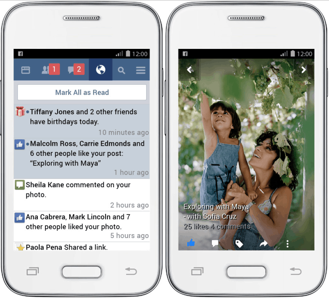 Visualización de Facebook Lite en un teléfono limitado. Fuente: TechCrunch