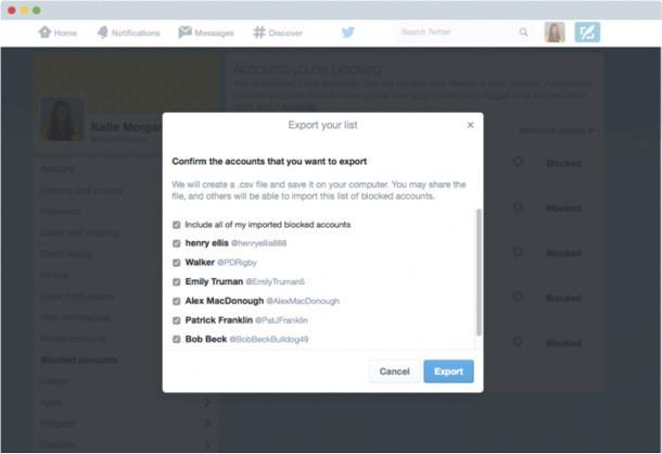Ejemplo de las listas de bloqueo en Twitter