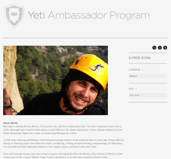 "Ejemplo de la página perfil de un ""Embajador Yeti""."