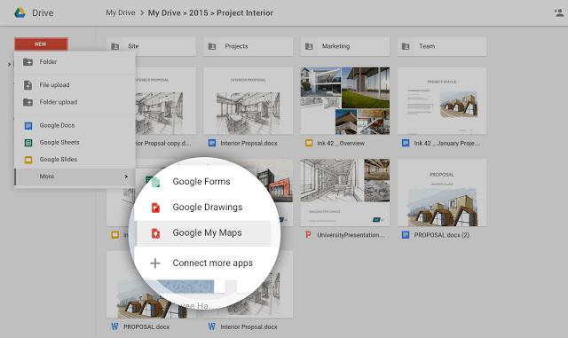 Ahora podrás sacar más provecho a las herramientas de Google Maps, con su incorporación a Drive. Fuente TechCrunch