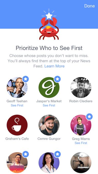 Display de como se verá la opción See First de Facebook