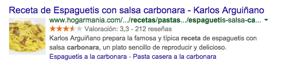 Rich Snippets Receta