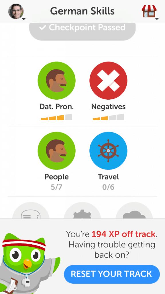 Así luce Duolingo en su versión móvil