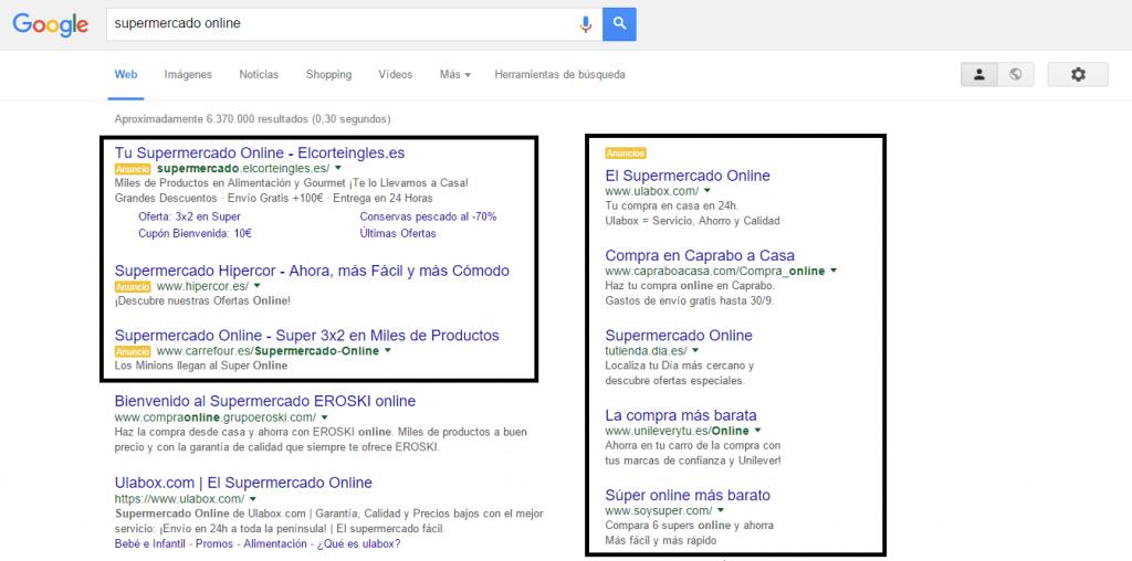"""Búsqueda """"supermercado online"""" en Google"""