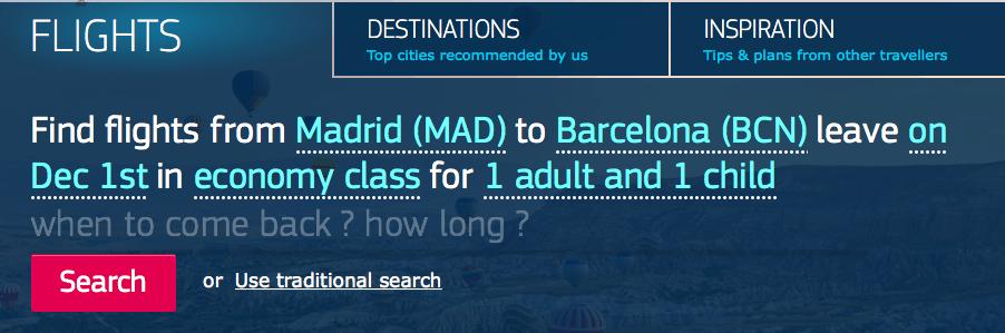 """Ejemplo de búsqueda por vuelos Amadeus (Flights). Toda la frase fue escrita manualmente """"Encontrar vuelos de Madrid a Barcelona, volando el 1º de diciembre en clase económica, para 1 adulto y 1 niño""""."""