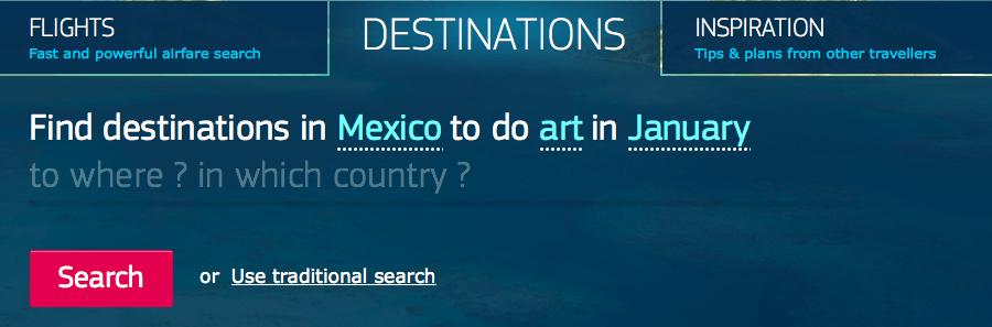 """Ejemplo de búsqueda por destinos (Destinations). Toda la frase fue escrita manualmente: """"Encontrar destinos en México para hacer arte en Enero""""."""