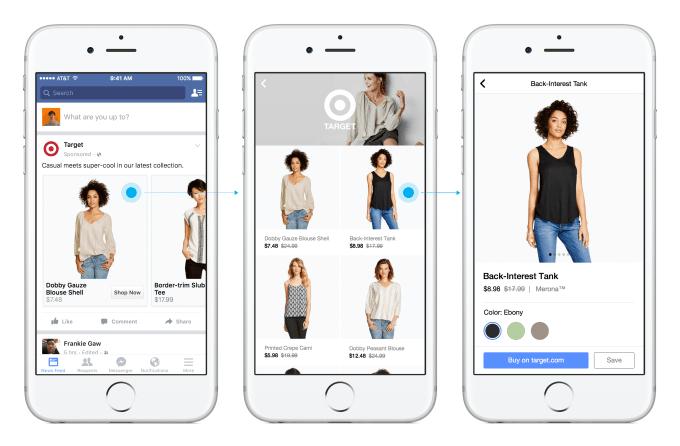 """Ejemplo del formato de anuncio """"Canvas"""" en Facebook"""