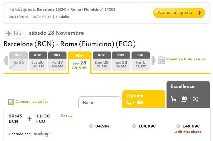 Ejemplo de usabilidad en un portal eCommerce, con la página de la aerolínea Vueling. Normalmente, las aerolíneas de buena calidad y servicio poseerán una gran usabilidad en sus sitios.