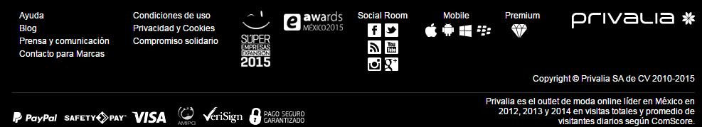 El site de Privalia en México cuenta con una gran muestra de sellos y logotipos de confianza, de distintos organismos nacionales e internacionales.