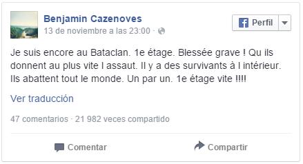 Tragedia en París - Facebook - Testigo