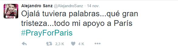 Tragedia en París - Twitter - Alejandro Sanz