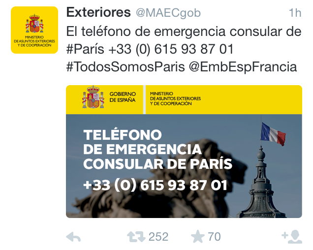 Tragedia en París - Twitter - Exteriores