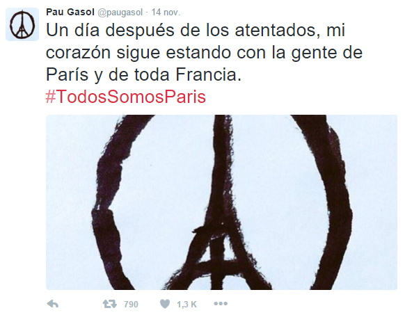 Tragedia en París - Twitter - Gasol