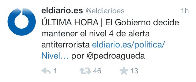 Tragedia en París - Twitter - Nivel alerta