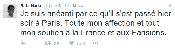 Tragedia en París - Twitter - Rafa Nadal