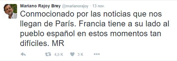 Tragedia en París - Twitter - Rajoy