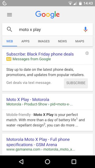 Ejemplo de los Google SMS