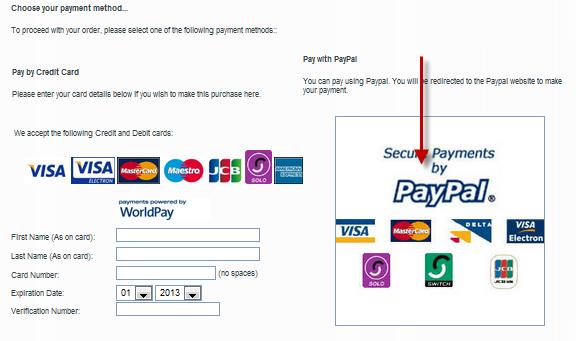 Ejemplo de los diferentes tipos de pago que un eCommerce de confianza debe de incluir.