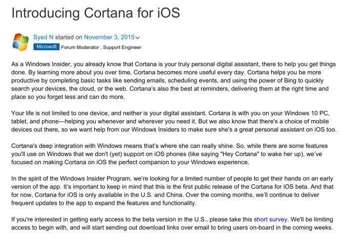 Ejemplo del correo de invitación para probar Cortana en iOS. Fuente: TechCrunch