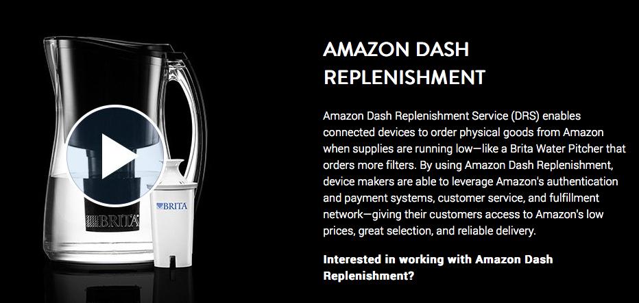 Ejemplo del arte gráfico de Amazon DRS en su web, invitando a las marcas a integrar su tecnología en sus productos o dispositivos.