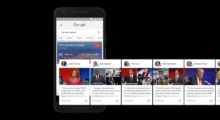 Arte gráfico de Google de la nueva función que pondrá a prueba durante el debate de candidatos republicanos a la presidencia de EEUU durante el 28 de enero de 2016