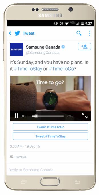 Así es como se veía la campaña de SAMSUNG CANADA utilizando los hashtags para interactuar en tweets promocionados.