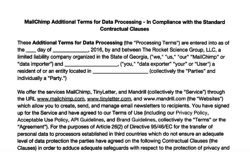 Formato o molde de contrato que ejerce MailChimp para proveer a sus usuarios de herramientas legales ante las instancias de la UE tras la disolución de Safe Harbor
