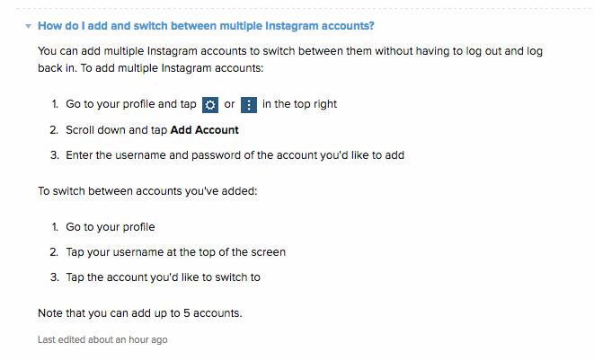 Instrucciones para el cambio de cuentas en la app Instagram