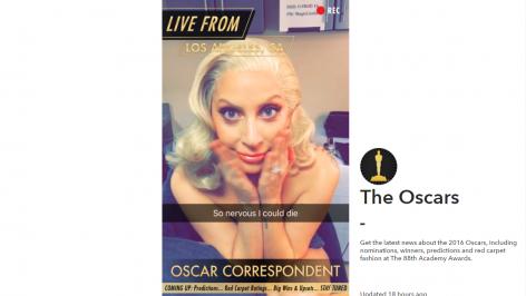 Promocional de Lady Gaga en relación a la transmisión de los Óscares vía Snapchat y Snapchat web