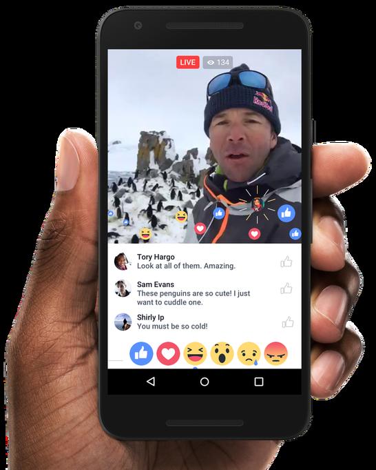 Ejemplo de la línea de tiempo marcada por los emojis de reacciones en los vídeos de Facebook Live. Fuente: TechCrunch