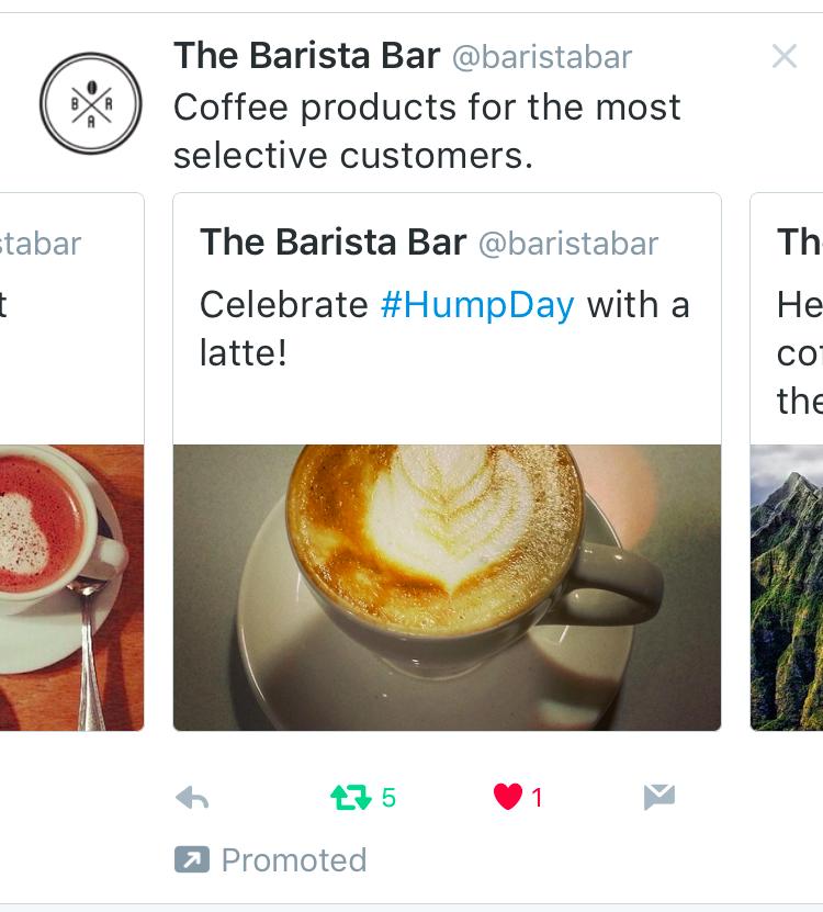 Vistazo de la nueva manera para promocionar tweets múltiples en formato carrusel.