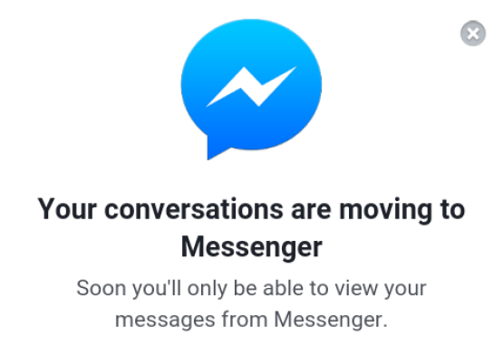 Mensaje sobre la desaparición de la mensajería en la web app móvil de Facebook, empujando al consumo de la app Messenger.