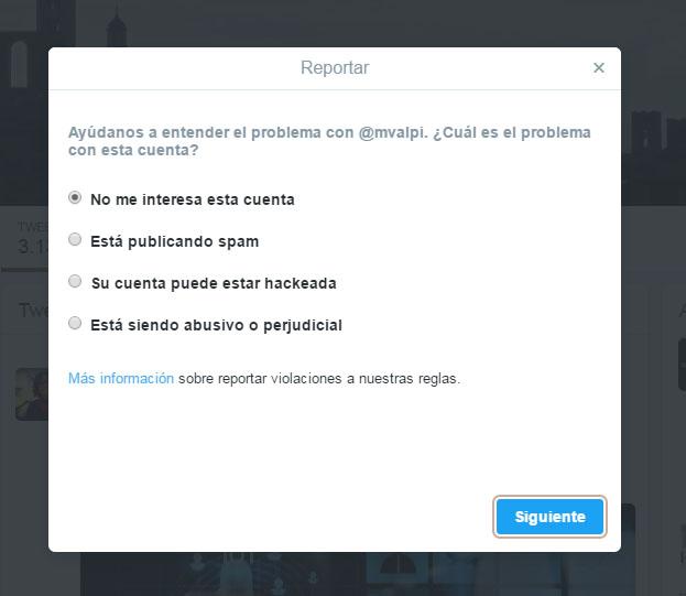 reportar usuario en twitter