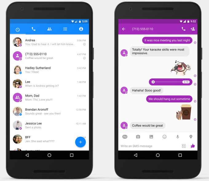 Visualización de recepción y envío de SMS vía Facebook Messenger