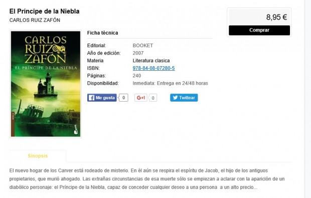 Ficha de producto tienda online Librerías Nobel