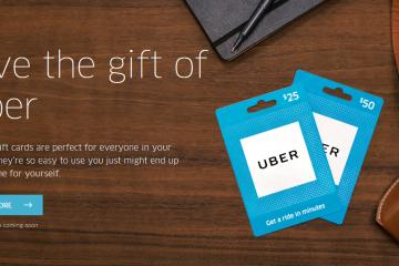 Tarjeta regalo de Uber.