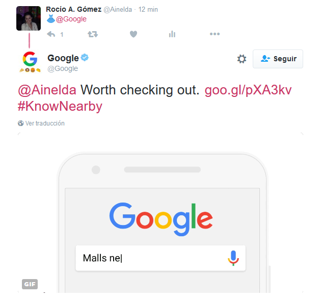 Tuit a @Google con emoticono. #Knownearby