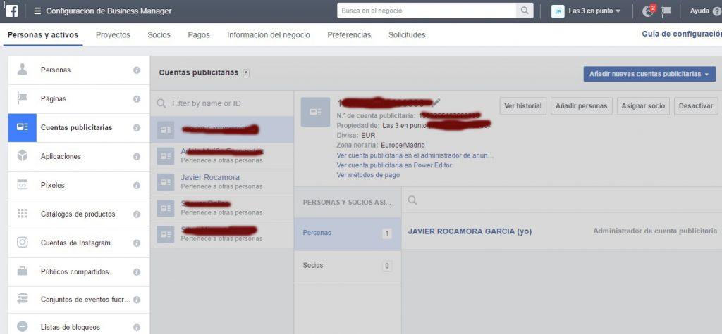 Facebook for business gestor de cuentas publicitarias