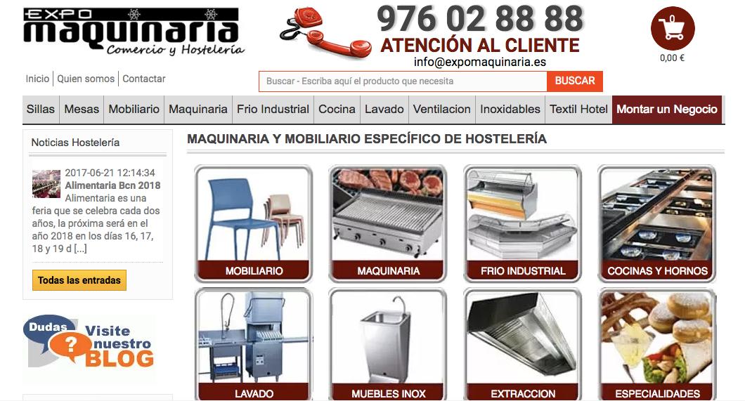 Almacenamiento y distribución de maquinaria de Hostelería