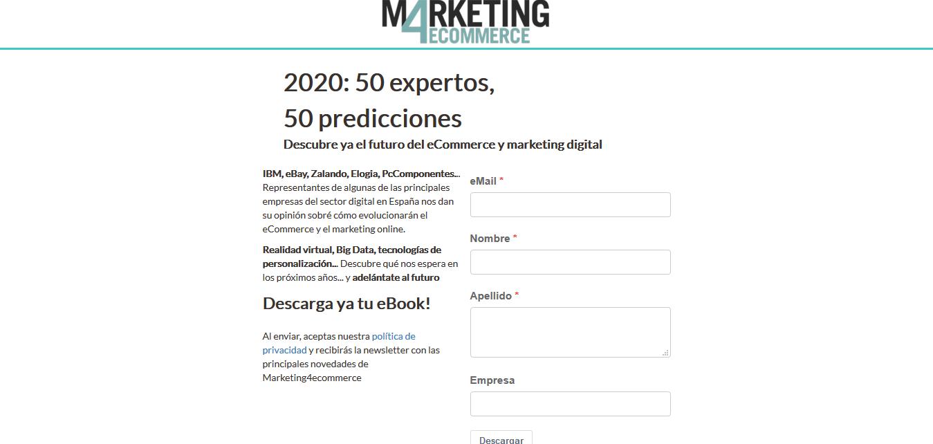 Landing page de Marketing4eCommerce