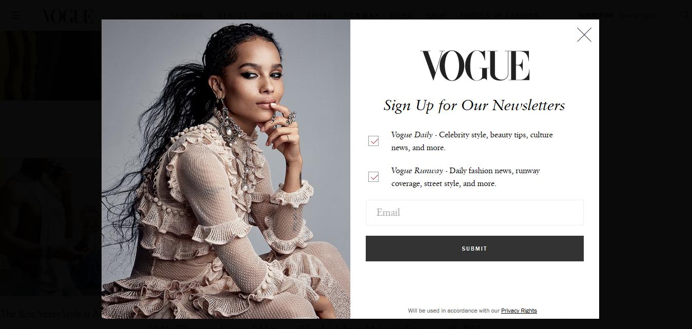 Landing page de Vogue USA