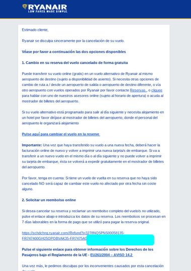 Email de Ryanair. Buena gestión de crisis
