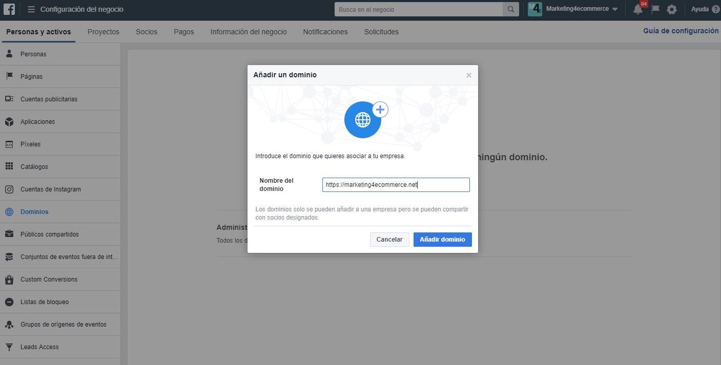 verificar tu dominio en Facebook1