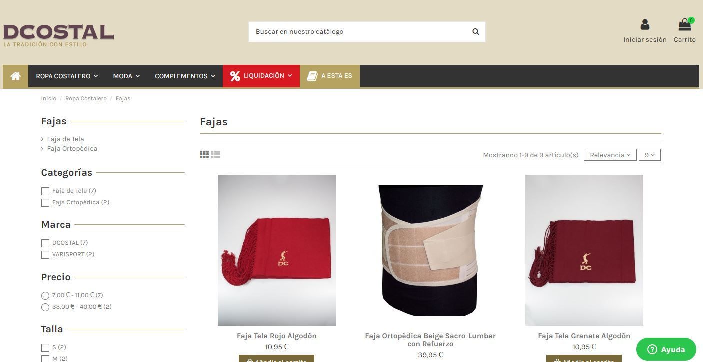 Tienda Dcostal online