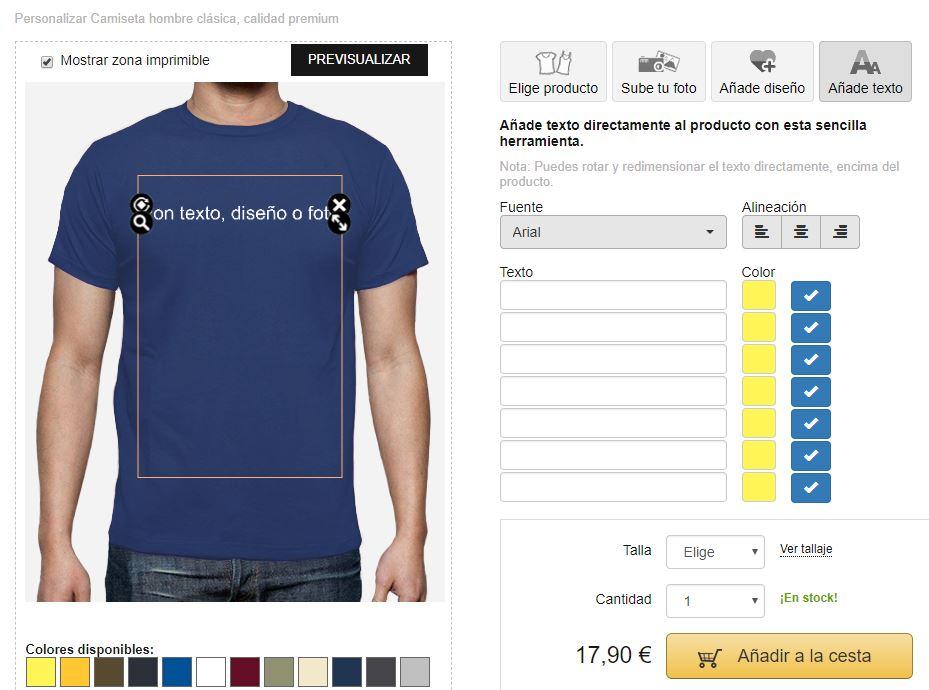 Herramienta de diseño de camisetas personalizadas
