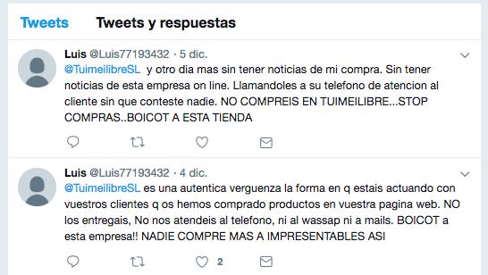 Queja en Twitter de otro usuario