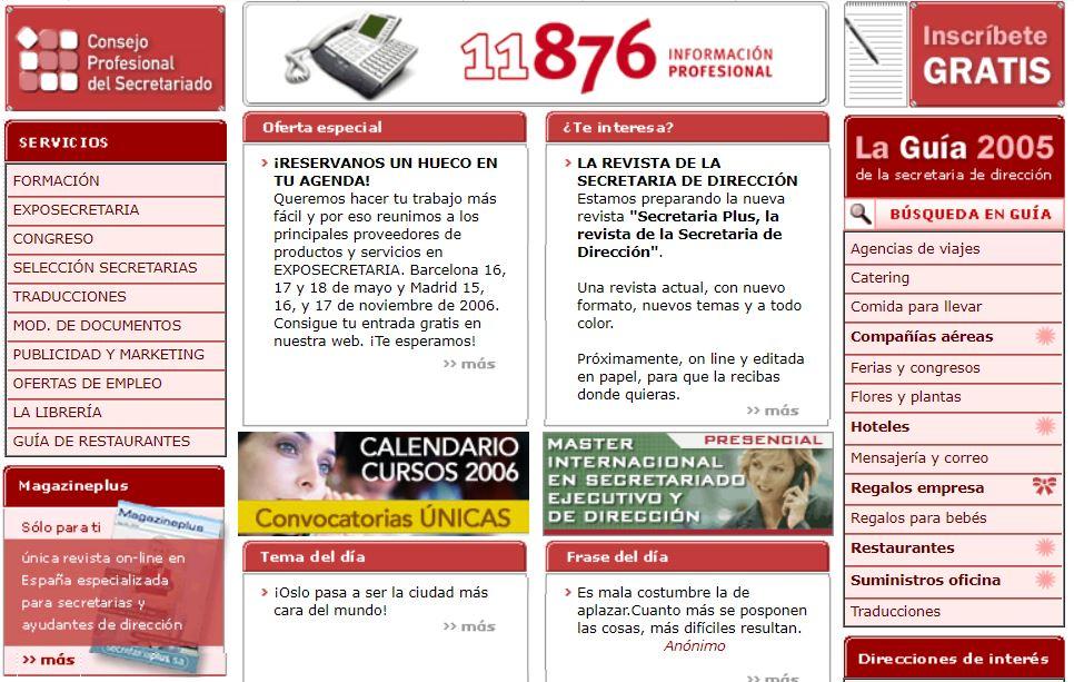 Secretariaplus.com en 2006