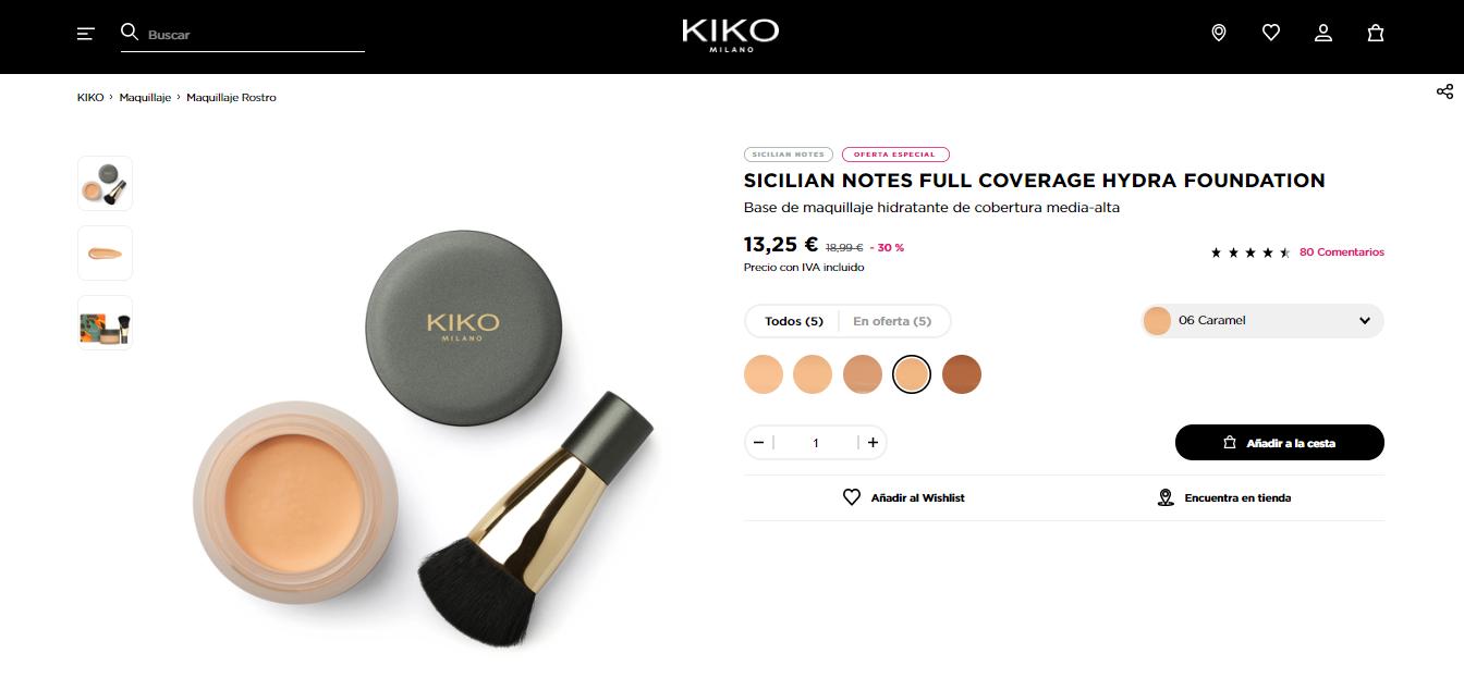 ficha de producto Kiko Milano
