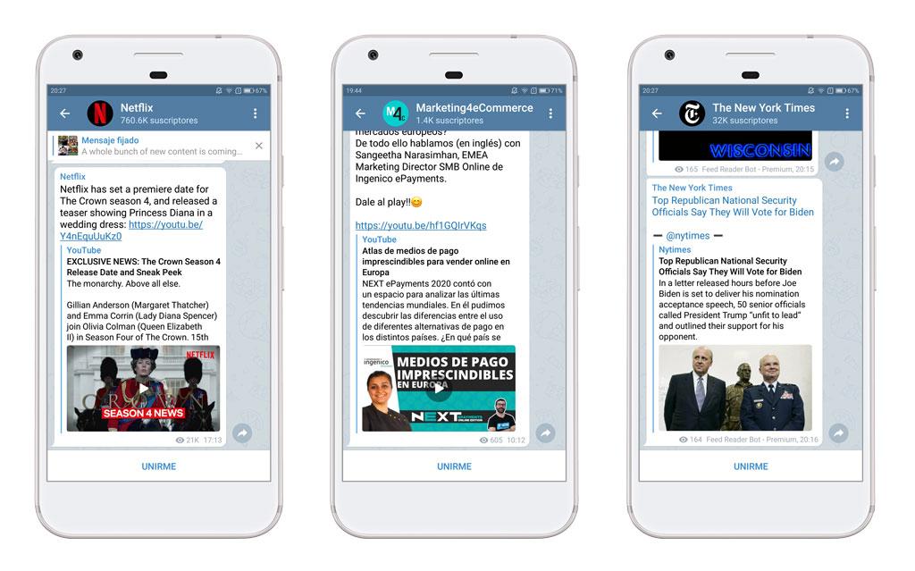 Ejemplos de canales de Telegram